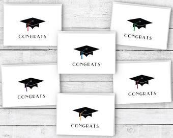 Graduation Cap Congratulations Note Cards - 24 Cards & Envelopes