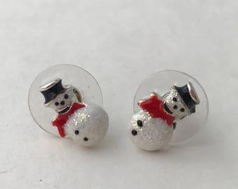Snow man earrings, Christmas earring
