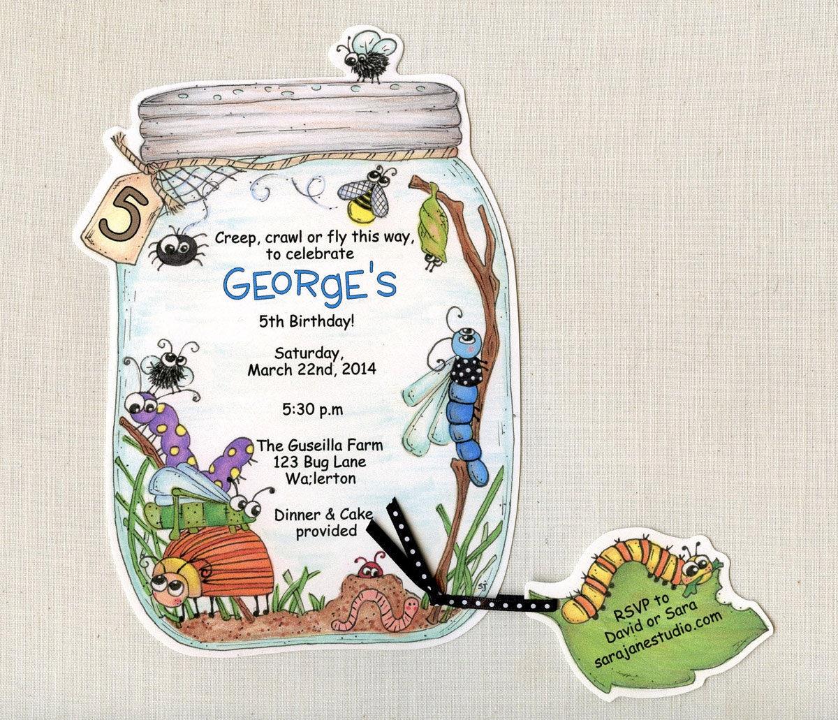 35 Bug Jar Birthday Party Invitations Summer Birthday Invite