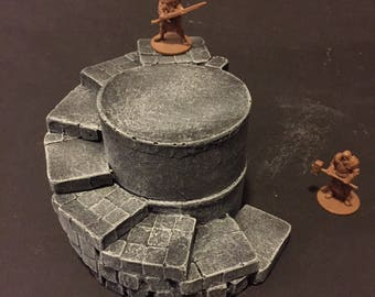 Spiral Stairs, painted, D&D Pathfinder Dungeon Gaming Fantasy TableTop Terrain Miniature Roleplaying RPG