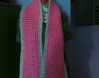 Ladies scarf pink white hand crocheted