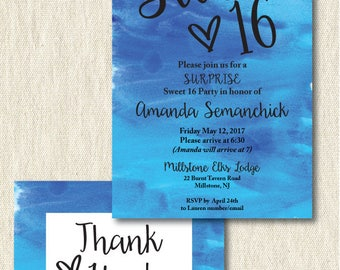Sweet 16 Invitation, digital, printable