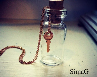 TINY - Key To Your Heart Necklace - miniature - MINI - gold filled small key charm necklace - By Simag