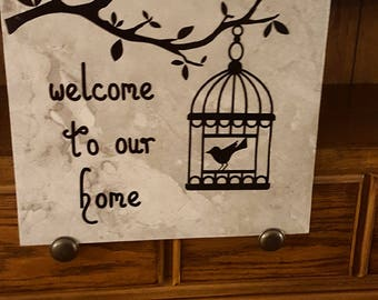 Large 12 x 12 Tile Welcome to our home