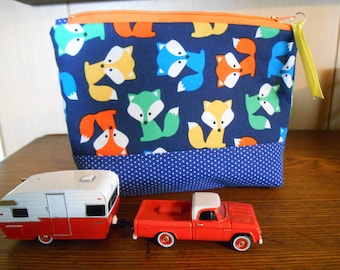 Small Zippered Bag with Fox Print