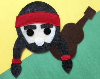 Willie the Music Man - Iron On Applique/Patch - Made Out of 100% Recycled Felts