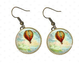 Personalized hot air balloons on cabochon earrings, travel, round the world, cabochons
