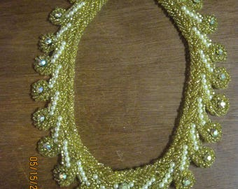 BEAUTIFUL ANTIQUE 1940's Gold EMBROIDERY Bead & Faux Pearl Collar Necklace ...7768