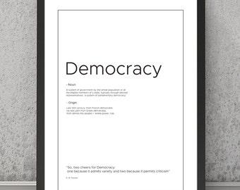 Democracy definition print, Democracy typography print, Democracy print, Democracy poster, typography poster, typography print, quote print