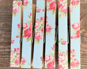 Magnetic Pegs Pink Roses - Peg Magnets - Fridge Magnet Set - Decorated Clothespins - Shabby Chic Blue Floral