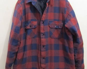 A Men's QUILTED Vintage 80's,2-Tone Burgundy & Blue BUFFALO PLAID Flannel Shirt By Sears.L