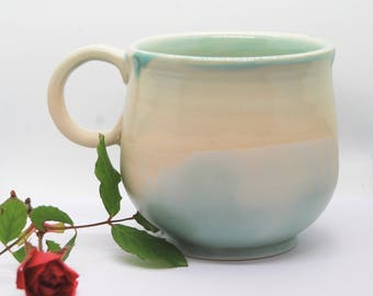 Coffee Lovers Handmade Pottery Mug, Coffee mug, light blue mug, ceramic mug, romantic mug, tea mug, handmade gift, housewarming gift D07