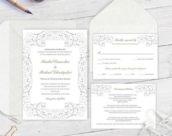 wedding invitation template download, wedding invitation set, printable wedding invites, editable wedding invitation FEWS| T23