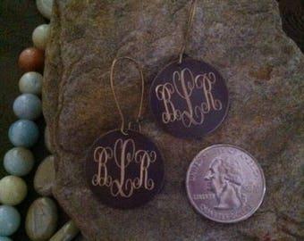 Brass Engraved Earrings-Engraved Earrings-Monogram Earrings-Disc