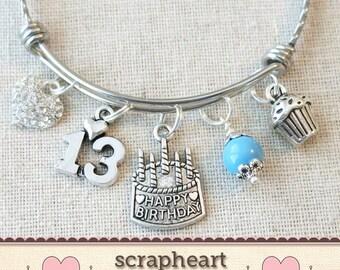 13th BIRTHDAY GIRL, 13th Birthday Charm Bracelet, Teenage Daughter Gift Idea, Girls Thirteenth Birthday Gift, 13 Year Old Teen Girl Birthday