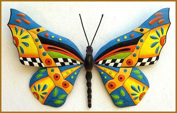 Merveilleux Metal Wall Art Painted Metal Art Garden Decor Butterfly
