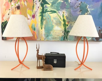 Mid Century Modern vintage Orange Metal table lamps with shades