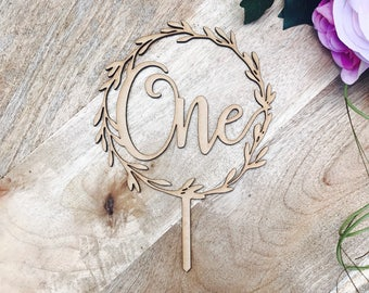 CLEARANCE! 1 ONLY timber One Wreath Cake Topper Boho 1st Birthday cake topper wreath cake topper Cake Topper One birthday cake topper LVR
