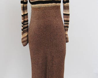 Vintage Knit Dress 90s Striped Empire Waist Brown Chenille Knit Long Sleeve Column Knit Fitted Maxi Dress S M