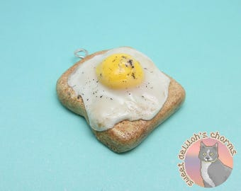 Fried Egg Toast Charm - Choose your attachment! polymer clay charms, jewelry, keychain, necklace, phone strap, dust plug, key ring