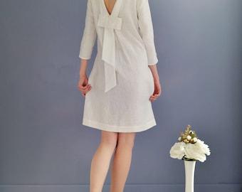 Robe en lin avec ouvert robe élégante dos/Lin / Lin robe Midi / robe avec noeud à l'arrière / Eco Friendly robe / robe de mariée /