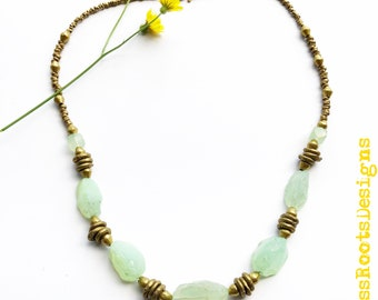Aqua Peruvian Chalcedony & Ethiopian Brass Necklace, Handcrafted Beaded Gemstone Jewelry with Exotic Metals, Casual Statement Necklace