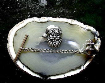 Santa Claus Tie Tack Sterling Silver Free Domestic Shipping