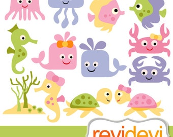 Sea animals clipart sale, pastel color / under the sea / Baby sea animals digital clip art, commercial use / seaturtle, fish, jellyfish