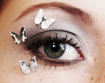 3pcs Butterfly Eye Makeup Stickers Beauty Product Accessory White Eye Shadow Glitter Eyeshadow Decals Face Makeup Face Bindi