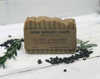 Tea Soap - Green Tea Soap - Homemade Soap - Facial Soap - Natural Facial Soap - Artisan Soap - Tea Tree Soap Bar - Handcrafted Soap - Acne
