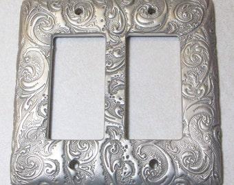 Silver Swirls single, double or triple toggle rocker light switch cover