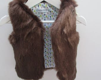 vest 9-12 month sleeveless faux fur Brown 9-12 months baby blue water drops