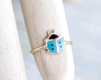 Blue Ladybug Ring in Sterling Silver - Ladybird Secong knuckle Ring Size 1.5