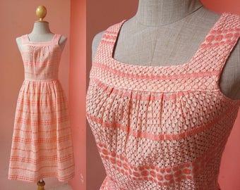 Orange Lace Midi Dress XS 80s Dress Vintage Casual Dress Women 1980s Dress Womens Dresses Retro Dress Summer Dress Sleeveless Knee Length