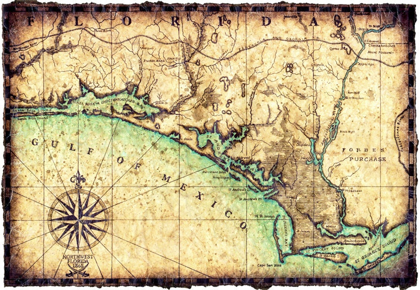 North west florida coast map artwork c1865 hand drawn map 11 zoom publicscrutiny Choice Image
