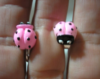 """Play Earring - Clip or Pierced - Ladybug -  Pink - 3/8"""""""