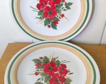 3 vintage red pooppy melmac dinner plates