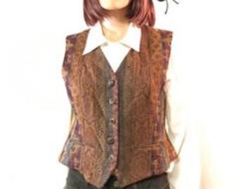 Vintage, Tapestry Vest, Brown Gold Blue Vest, Great Buttons, Vintage Vest, ladies,