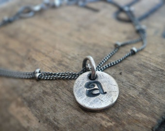 Initially Yours Bracelet - Handmade. Personalized. Oxidized Fine and Sterling Silver