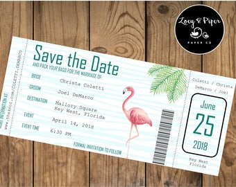 Save The Date/ Engagement/ Destination Wedding/ Flight Ticket/ Boarding Pass/ Flamingo/ Tropical/ Cruise/ Island/ Print Yourself/ Download