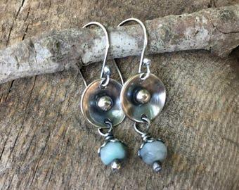 Silver Drop Earrings, Amazonite Earrings, Silver Disc Earrings