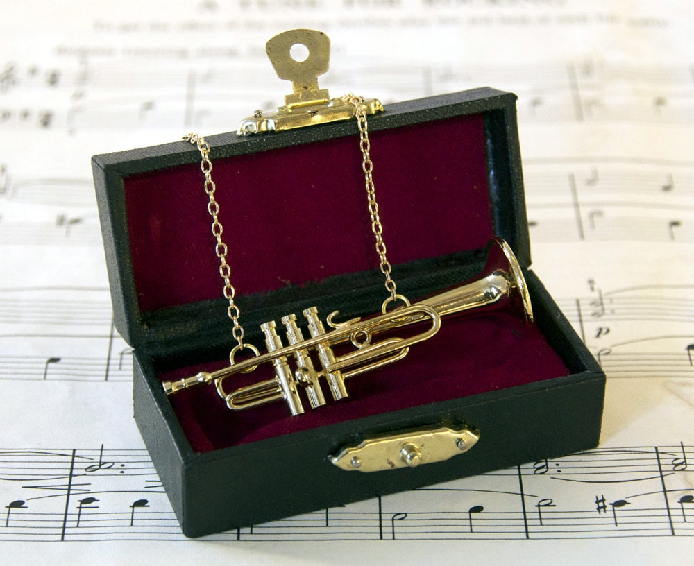 Trumpet Necklace in Case - Music Necklace - Trumpet Jewellery - Trumpet Gift