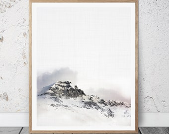 Mountain Print, Mountain Wall Art, Large Poster, Modern Minimal, Mountain Landscape, Mountain Decor, Mountain With Snow, Winter Landscape