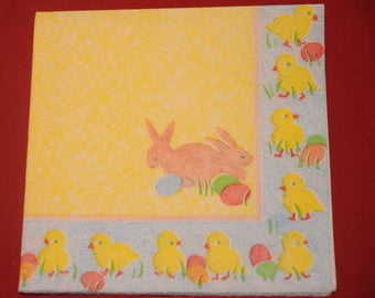 "theme ""Bunnies and chicks"" Easter napkin"