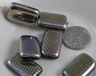 2 pcs Czech Glass Beads Large Flat Rectangle Silver With Tiny Vitrail Diamond 19x12mm SRB-CP19x12-SD