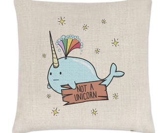 Narwhal Not A Unicorn Linen Cushion Cover