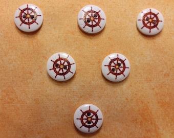 SET of 6 wood buttons: theme Starfish motif bar (30) 15mm round