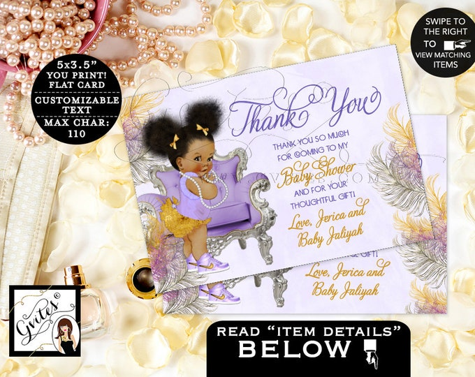 """Thank You Baby Shower, Lavender Purple Silver Gold, African American, Ribbons Bows, Afro Puffs, Chair, Digital {5x3.5"""" 4 Per/Sheet} Gvites"""
