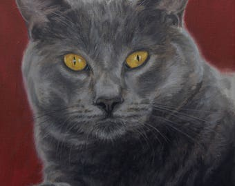 Cat portrait custom, Pet portrait, Cat Painting - oil painting on stretched canvas. ***Lowest price is 50% DEPOSIT price***