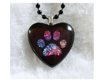 Black Heart Pendant with Stained Glass Art Paw Print Pet Memorial or Remembrance Gift
